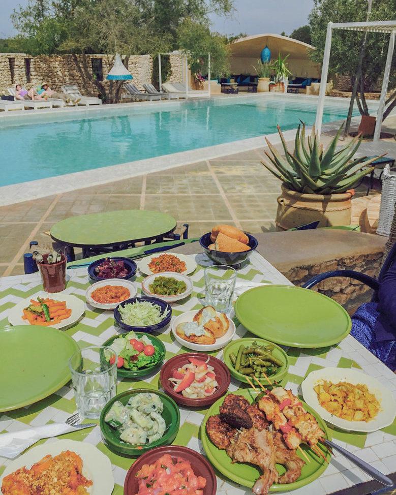 Buffet Piscine Restauran Jardins Villa Maroc Essaouira